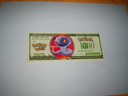 BILLET FANTAISIE USAGE POKEDEX / POKEMON WORLD SERIES 2001. N°AA 84193135 A. - Billets
