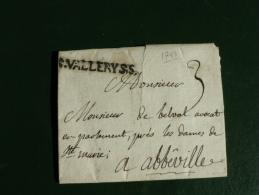 SOMME - MARQUE ** S . VALLERY S.S. ** SUR LAC De Pendé Pr Avocat *Près Les Dames De Ste Marie *à ABBEVILLE - 1701-1800: Precursors XVIII