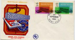 LETTRE FDC NOUVELLES HEBRYDES SIEGE OMS 245 246 1ER JOUR - FDC