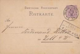 Deutsche Reichspost, Freiburg In Baden, Franz Sauer Seide&Merceriewaaren, Zell Im Wiesental 1879 - Ganzsachen
