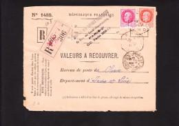 Recommandé Valeurs A Recouvrer - Pétain Bersier 516 521 Au Tarif - Paris 118 Chinon Indre Et Loire 37 - Postmark Collection (Covers)