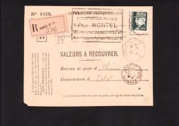 Recommandé Valeurs A Recouvrer - Pétain Hourriez  523 Au Tarif - Paris 91 Chinon Indre Et Loire 37 - Postmark Collection (Covers)