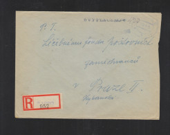 Czechoslovakia Registered Cover 1945 Atec To Prague - Czechoslovakia