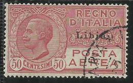 LIBIA 1928 - 1929 SOPRASTAMPATO D´ITALIA ITALY OVERPRINTED POSTA AEREA AIR MAIL CENT. 50 C USATO USED OBLITERE´ - Libia