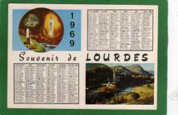 65 - Souvenir De LOURDES    Petit Calendrier   Sur CPM   Année 1969  (Ed. Yan-Rogé, état CPM  Impeccable - Petit Format : 1961-70