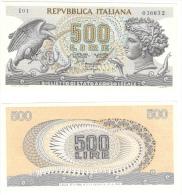500 Lire Testa Aretusa Stammati Gubbio Ventura Signoretti Decr 10 06 1966 - [ 2] 1946-… Republik