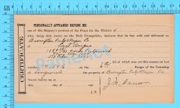 "Afidavit Certificat Cir 1911, Blank "" Lingwick""  Brompton Pulp & Paper East Angus P. Quebec ) - Canada"
