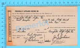 Afidavit Certificat  1911, Vente De Bois Par Jos Fecteau Weedon à  Brompton Pulp & Paper East Angus P. Quebec ) - Canada