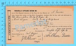 Afidavit Certificat 1911, Vente De Bois Par Arthur Lisée Lingwick à  Brompton Pulp & Paper East Angus P. Quebec ) - Canada