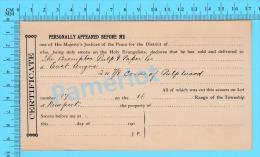 Afidavit Certificat 1911, Vente De Bois Par Blanck à  Brompton Pulp & Paper East Angus P. Quebec ) - Canada