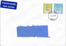 R] Enveloppe Cover Estonie Estonia Usage Courant Definitive Lion Blason Coat Of Arm Heraldique Heraldry - Estonia