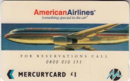 UK(GPT) - American Airlines(MER228), Mercury Telecard, CN : 20MERB(WB), Tirage %10709, Used - Flugzeuge