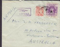 Burma (Purple) BY AIR MAIL Aeroplane Boxed Cds. RANGOON Cover Brief BRISBANE Australia 1K Stamp (2 Scans) - Myanmar (Burma 1948-...)