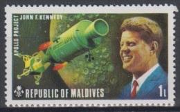 1974 - MALDIVES - Y&T 451 - J.F. Kennedy & Apollo (MNH/**) - Maldives (1965-...)