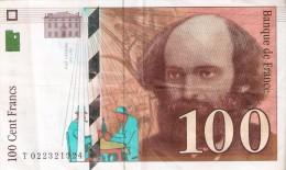 BILLETE DE FRANCIA DE 100 FRANCOS DEL AÑO 1997 DE CEZANNE SERIE T  (BANKNOTE) - 1992-2000 Ultima Gama