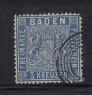 W2773 - BADEN 1860 , 3 Kr N. 10  Usato Dent 13 1/2 - Bade