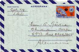 EL SALVADOR Aerogramm 35 C Ganzsache Dia Meteorlogico Mundial 1968, Centroamerica Nach Bad Oberdorf - El Salvador