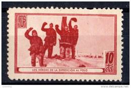 """Asociacion Amigos Union Sovietica  - ( Castaño Rojizo ) """" Heroes Expedicion Al Polo  """" -  10 Cts.  Spain Civil War *** - Erinofilia"""