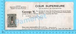 Timbre Taxe Sur Document 1937 ( Law Stamp QL #73,  Sur Subpoena  ,Sherbrooke P. Quebec ) - Fiscali