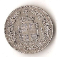 ITALIE  1 LIRA  1887  ARGENT - 1878-1900 : Umberto I.