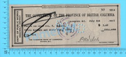 BC Canada Esquimalt (Government Check Wage Stampless, Cover Sooke Bc, Dept Of Public Works For $5.68 In 1932 Recto/Verso - Cheques & Traverler's Cheques