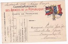 Carte En Franchise Militaire Modèle 12D La Sous Ci Gros ° à N° 2e Ligne Entre O Et R De Porter Ou Sous Ne - Marcofilie (Brieven)