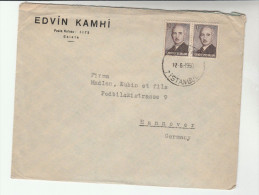 1959 TURKEY Edvin Kamhi Co COVER 2x 10k Stamps To Germany - 1921-... Republic