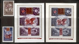 RUSSIA (USSR) 1973 MNH Satellite, Lunokhod 2 On Moon, Cosmonauts Day; Set, Souvenir Sheets; Scott Cat. Nos. 4070-4073 - Russia & USSR