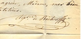LETTRE ALPHONSE DE RICHOUFFTZ PARIS 1855 à WILOQUET LECOUTRE FILATURES TOURCOING B.R.V.SCANS - 1800 – 1899
