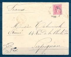 1876 SEVILLA, SOBRE CIRCULADO A PERPIGNAN, ED. 166, AMBULANTE, MADRID ESTAFETA CAMBIO, TRÁNSITO FR. Y LLEGADA - 1875-1882 Royaume: Alphonse XII