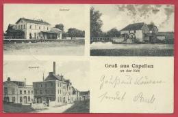 Kapellen - GruB Aus ... - 3 Fotos - Bahnhof, Mühle, Brauerel - Feldpost 1914  ( Verso Zien ) - Kapellen