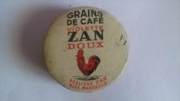 PUBLICITE..REGLISSE ZAN.GRAINS DE CAFE VIOLETTE ZAN DOUX. BOITE VIDE.6,5 CmX 6,5 Cm X 2 Cm - Boîtes