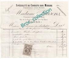 Mme Jaussons, Corsetière, Corsets, Jupons, Tournures, Tours, Rue De La Préfecture, Facture 1891 - France