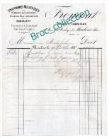 Froment, Tailleur Chemisier, Uniformes Militaires, Moulins, Rue De L´Horloge, Facture 1897 - France