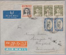 "SIAM Thailand 1952-10-04 Bankhok ""A.V.2."" Luftpostbrief Nach Ringsled DK - Thaïlande"