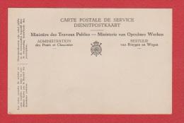 BELGIQUE  --  Carte Postale De Service  --  Vierge - Stamped Stationery