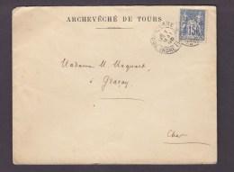 FRANCE TIMBRE LETTRE  ARCHEVECHE TOURS INDRE ET LOIRE MAQUART GRACAY CHER - 1898-1900 Sage (Type III)