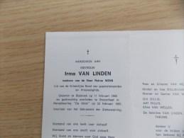 Doodsprentje Irma Van Linden Stabroek 11/2/1906 Brasschaat 23/2/1992 ( Petrus Wens ) - Religion & Esotericism