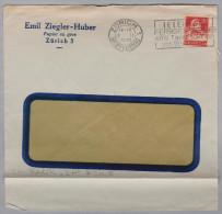 """CH 1931-02-07 ZÜRICH Perfin Beleg """"ZH"""" Emil Ziegler-Huber Papier En Gros Fenster Brief - Suisse"""