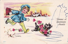 J. GOUGEON .  Mignonnette  7x10,5. Fillette Et Son Chien Courant Dans Paysage De Neige - Gougeon