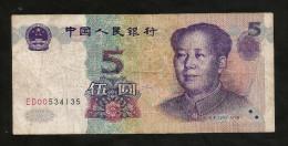 CHINA - BANK Of CHINA - 5 YUAN (1999)  - MAO - Cina
