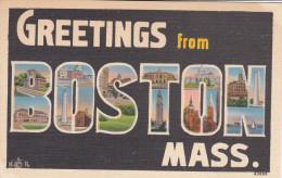 """Large Letter Greetings , """"BOSTON"""" , Massachusetts , 30-40s - Boston"""