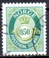 NORWAY 1997  Posthorn -  50ore - Green  FU - Norwegen