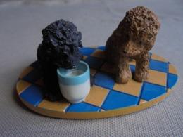 Statuette De Chien - 2 Chiots Caniches - Tiere