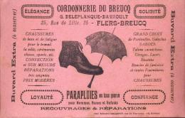 Buvard Vloeipapier Pub Reclame Cordonnerie Du Breucq - Parapluies - Flers - Breucq - Buvards, Protège-cahiers Illustrés