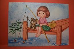 ENFANT ---OURS- OURSON - BONNE  PECHE - Kindertekeningen