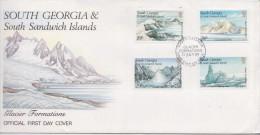 SOUTH GEORGIA AND SOUTH SANDWICH ISLANDS - FDC GLACIER FORMATIONS 1989 - FIRST DAY COVER - PREMIER JOUR - Géorgie Du Sud