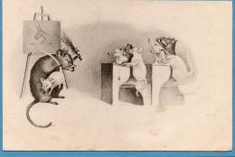 Cpa SOURIS Et RATS. Salle De Classe. Fessée - Animales