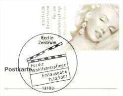 519  Marilyn Monroe: Oblit. 1er Jour D'Allemagne, 2001 - Cinema FDCancel From Germany On Plain Card. Film - Cinéma