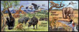 nig15201ab Niger 2015 African Fauna birds Lion Elephant 2 s/s Pelican